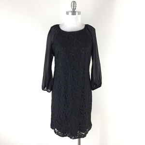 Adrianna Papell 10 12 Black lace Shift dress party